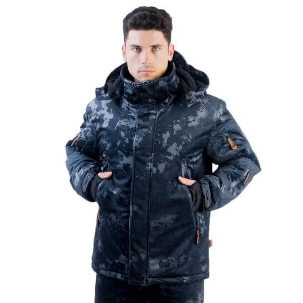 Куртка Тритон -15 Вельбоа серо-черная мужская