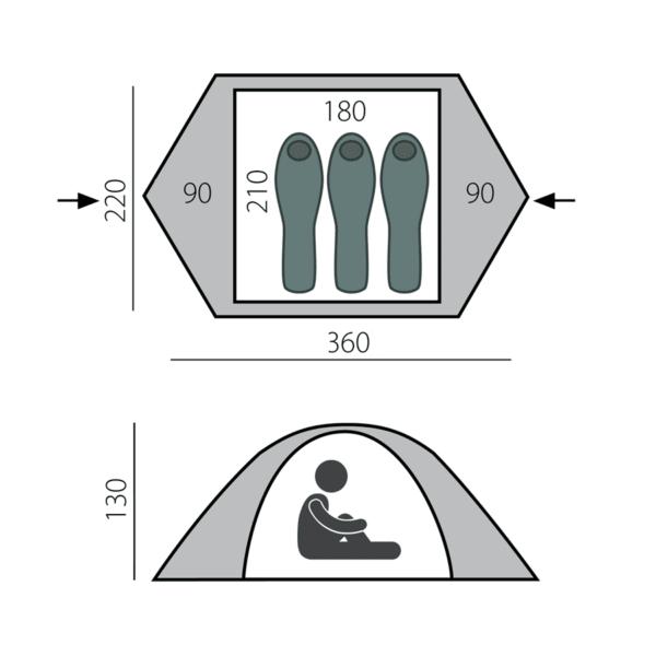 трехместная палатка размеры